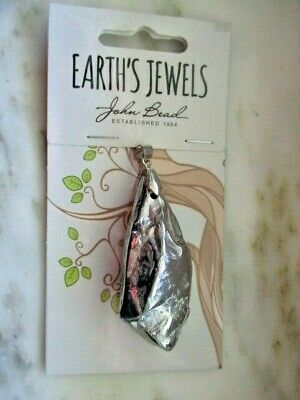 John Bead Earth's Jewels Semi-Precious Stone Pendant - Mineral Rock Silver