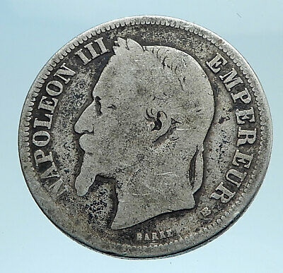 1866 FRANCE Emperor NAPOLEON III Genuine Silver Coin 2 Francs French i77686