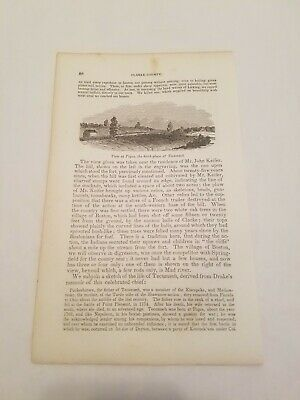 CR22) View at Piqua the Birthplace of Tecumseh Ohio 1858 Engraving