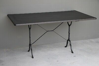 French antique bistro dining table black painted wood top ornate cast iron base