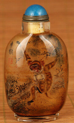 Rare China Old Glass Hand Inside Painting Monkey Statue Snuff Bottle collectable