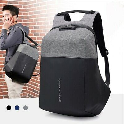 Laptop Backpack Anti Theft Mens Travel Bag with USB Charging Port + Lock