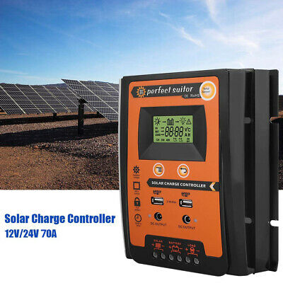 Solar Charge Controller Dual USB Panel 70A MPPT IP32 12/24V Battery Regulator