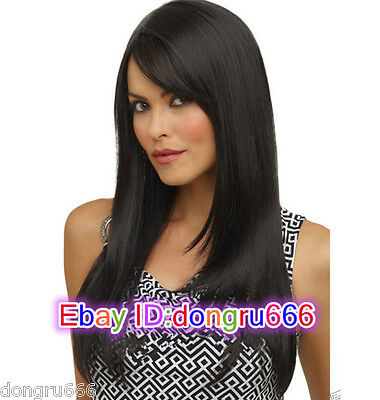 Hot!2020 ladies New women girl Black Long Fluffy straight Cosplay Wigs + wig cap