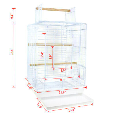 Metal Bird Cage Budgie Finch Canary Parakeet Cockatiel Parrot Cage Open Top Play