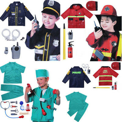 Kid Boy Girl Costume Firefighter/Police/Doctor Uniform Cosplay Party Fancy Dress