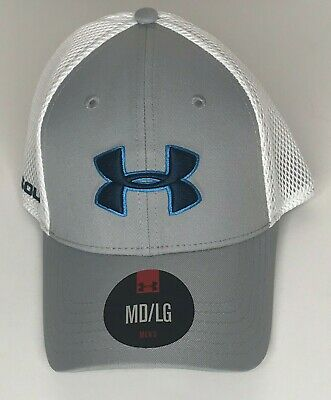 best cheap cab0a e9178 NEW Men s Under Armour Golf Hat Size MD LG Fitted White Blue UA Logo
