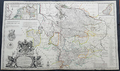 1720 Moll Large Antique Map Brunswick Luneburg, NW Germany Dedicated to George I