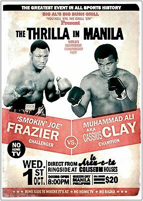 Muhammad Ali vs Joe Frazier Boxing Art Silk Poster 12x18 24x36