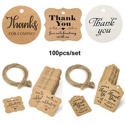 "100pcs Kraft Paper Hang Tags Wedding Party Favor ""thank you"" Hanging Label"