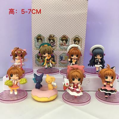8x Anime Card Captor Sakura Kinomoto Sakura PVC Figure Toy Cosplay (No Box)