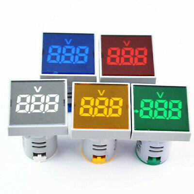 22mm Square Mini Volt Meter Panel LED Digital Display Voltmeters AC 20-500V