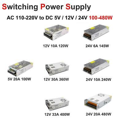 AC 110V-220V TO DC 12V 24V 5V 10/20/30/33A Switch Power Supply Adapter LED Strip
