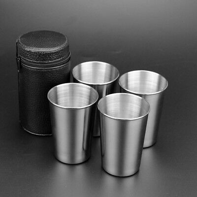 4PCS Stainless Steel Cups Mug Shot Cover Case Coffee Tea Beer Camping Tumbler