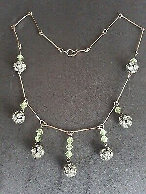 Vintage 1930s Art Deco Diamante and Uranium Glass Necklace