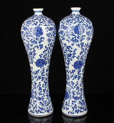 A Pair China Hand-painted Flower Pattern Blue And White Porcelain Vase
