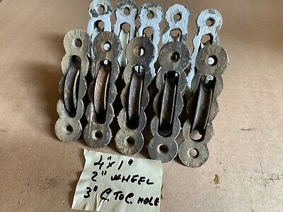 10 Vintage Scalloped Cast iron old window sash pulleys 4 x 1""