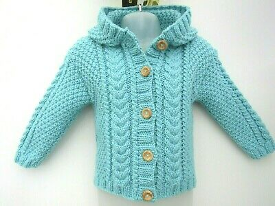 """Hand Knit Chunky Aran Cardigan / Jacket / Hoodie Chest 24"""" Approx 1-2 Years New"""