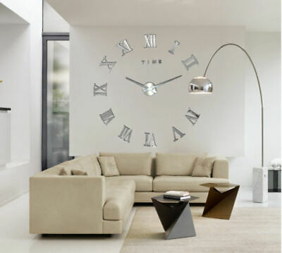 DIY 3D Wall Clock Roman Numerals Large Mirrors Surface Luxury Big Art Clock UK