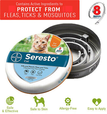 Bayer Seresto Flea and Tick Collar for Cats 8 Months Control and Treatment