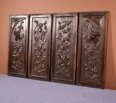 Set of 4 Antique French Walnut Wood Carved Panels