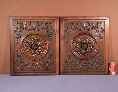 Pair of Antique Renaissance Revival French Walnut Wood Carved Panels