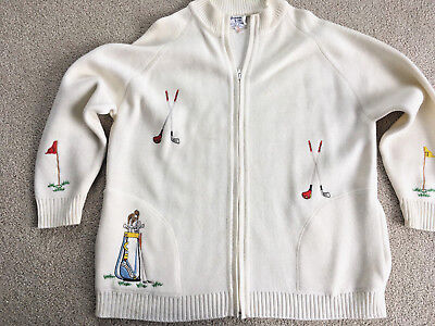 VTG GOLF Bonnie Lee Division of LeRoy SWEATER JACKET zipper retro cool design