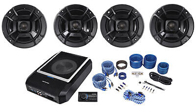 "ALPINE PWD-X5 Slim Under-Seat Powered Subwoofer+Wire Kit+Polk 6.5+5.25"" Speakers"