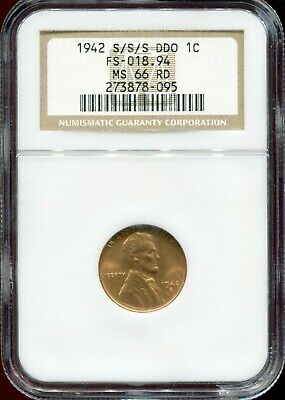 1942-S/S/S DDO Doubled Die Obverse 1c Lincoln Wheat Cent NGC MS66 RD