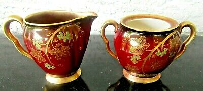Vintage Carlton Ware Rouge Royale Sugar Bowl And Creamer Gorgeous Red Rare