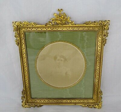 Antique French Picture Frame Bronze Louis XVI style Basket of Flowers- Ribbons