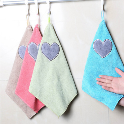 Thickening Hanging Soft Heart Towel Absorbent Dish Cloth Cleaning Kitchen