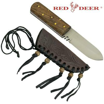 "Red Deer® 5.5"" Hunting Buddy Small Patch Knife with High Quality Leather Sheath"