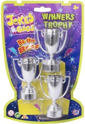 3 PACK Mini Silver Trophy 10cm Plastic Trophies Party Bag Fillers  BRAND NEW