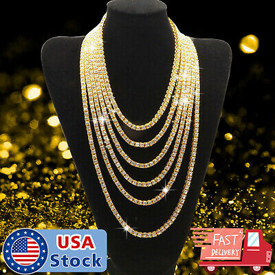 18K Gold Iced Out Lab Diamond Chain Tennis Choker Men Hip Hop Necklace 1 Row 5mm