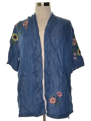 Style & Co. 6701 Plus Size 1X Blue Embroidered Cardigan Top Side-Slits $56