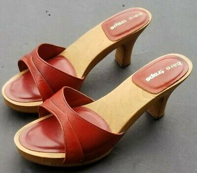 414a82989f2c7 7M VTG 70'S Wood PLATFORM Sandals High Heel Peep Toe BARE TRAPS ...