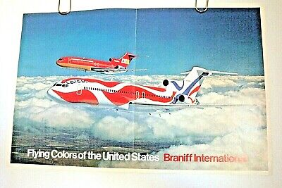 BRANIFF INTERNATIONAL AIRWAYS Calder POSTER PRINT 1976 ARTICLE BETTY FORD ORIG.