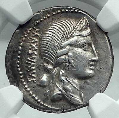 Roman Republic LIBERTY ROMA VENUS 76BC Authentic Ancient Silver Coin NGC i77834