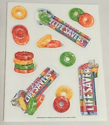 Life Savers Candy Vintage Hallmark Stickers Sheet 1980's Nabisco Lifesavers