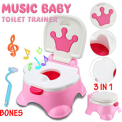 3 in 1 Baby Toilet Trainer Child toddler Kid Music Potty Urinal Training Seat