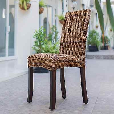 International Caravan Louisa Woven Mahogany Dining Chair (Set of 2)