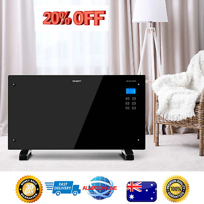 Devanti 2000W Portable Electric Panel Heater Convector Indoor - Black Glass