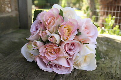 Pale Vintage Pink, Cream & Peach Silk Roses & Buds Tied Bunch / Small Bouquet