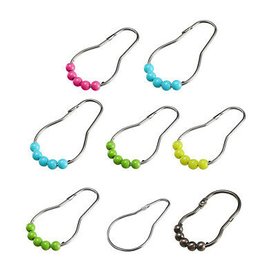 Shower Curtain Ring Hooks for Bathroom Shower Rods Curtain Liner Metal