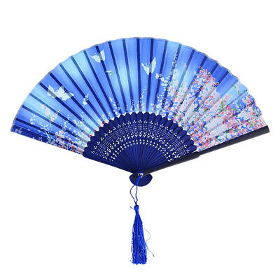 Japanese Chinese Hand Fan Folding Silk Bamboo Retro Printing Wedding Party Gift