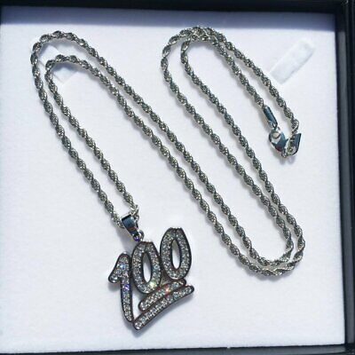 PVD Silver Hip Hop Iced Out Bling Diamond Studded Mini 100 Emoji Pendant Necklac