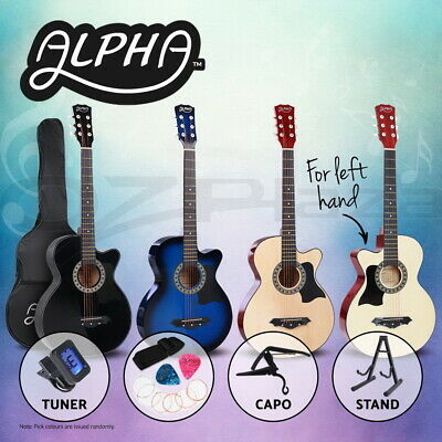 "Alpha 38"" Inch Wooden Folk Acoustic Guitar Classical Strings Capo Left handed"