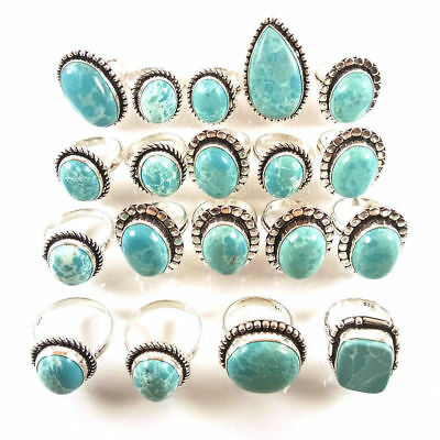 50 Pcs. Blue LARIMAR Gemstone 925 Sterling Silver Plated Rings Jewelry Lot