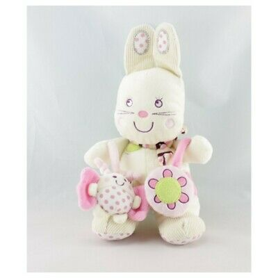 Doudou lapin blanc rose My Baby hochet NICOTOY  - Lapin Classique